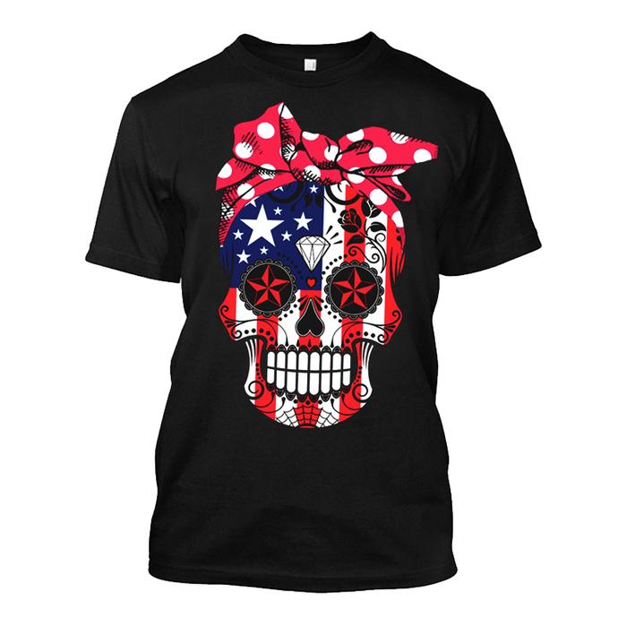 Men's United State Flag & Skull Face - Tshirt