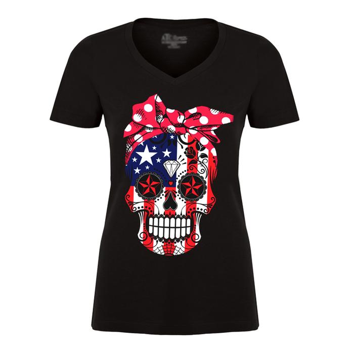 Women's United State Flag & Skull Face - Tshirt