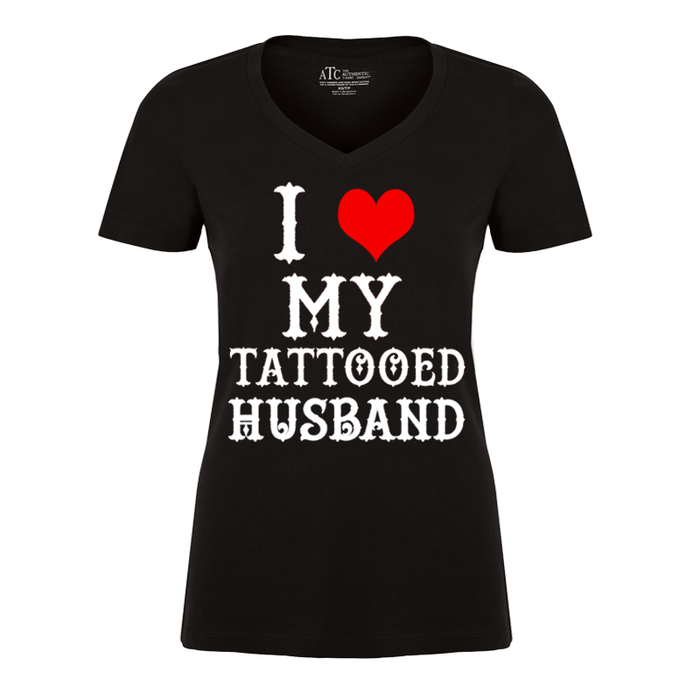 Women'S I Heart My Tattooed Husband - Tshirt