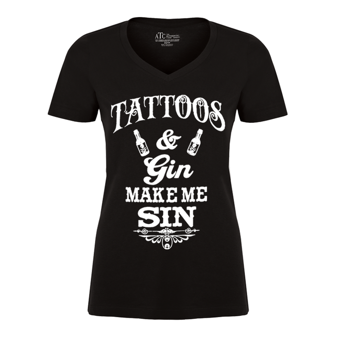Women'S Tattoos And Gin Make Me Sin - Tshirt