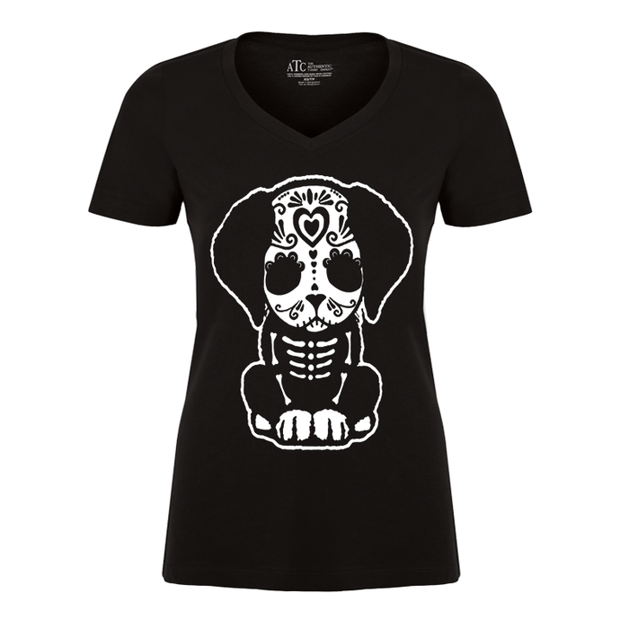 Women's Day Of The Dead Sugar Skull Puppy Dog - Tshirt