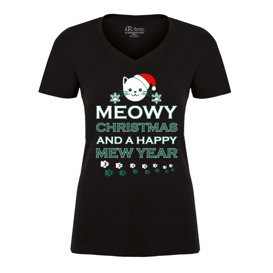 Women'S Meowy Christmas And A Happy Mew Year - Tshirt