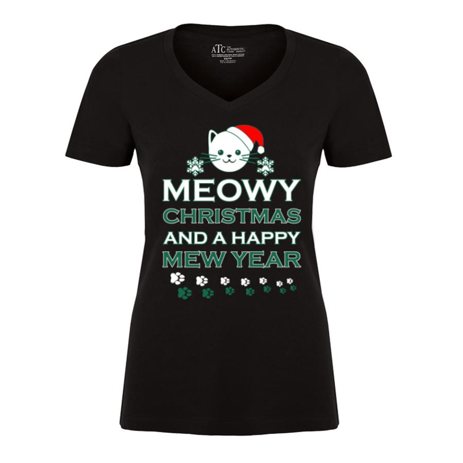 Meowy Christmas.Women S Meowy Christmas And A Happy Mew Year Tshirt