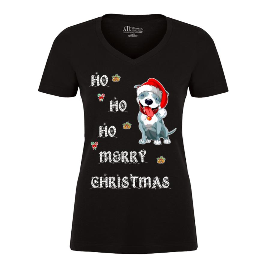 Women'S Ho Ho Ho Merry Christmas (Dog) - Tshirt