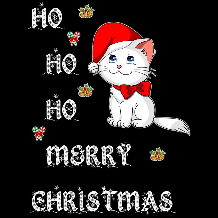 Women'S Ho Ho Ho Merry Christmas (Cat) - Tank Top