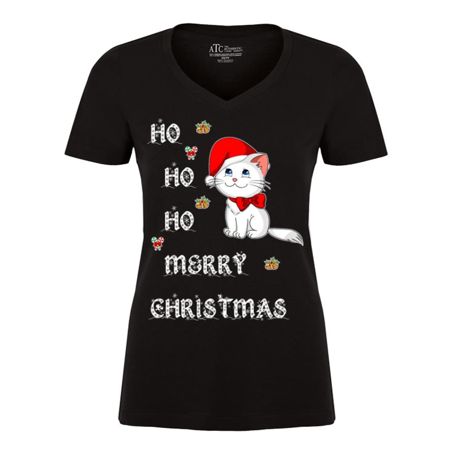 Women'S Ho Ho Ho Merry Christmas (Cat) - Tshirt