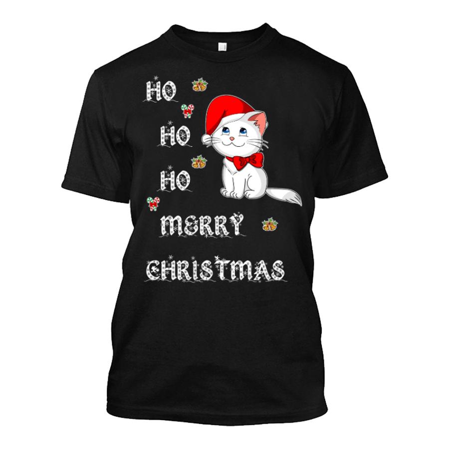 Men's Ho Ho Ho Merry Christmas (Cat) - Tshirt