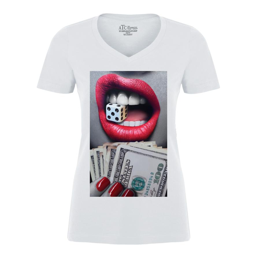 Women'S Red Lips Biting A Dice - Tshirt