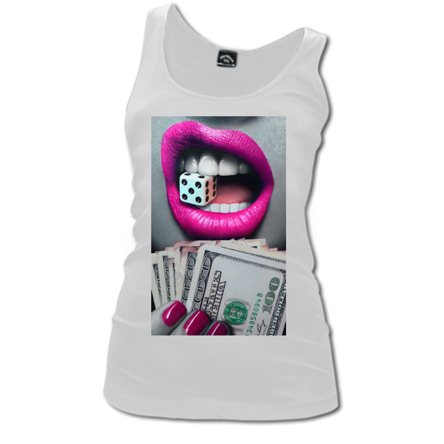 Women'S Pink Lips Biting A Dice - Tank Top