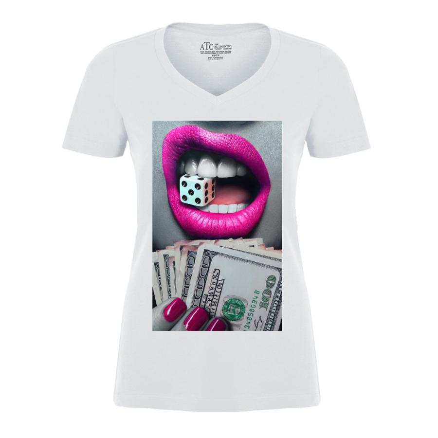 Women'S Pink Lips Biting A Dice - Tshirt