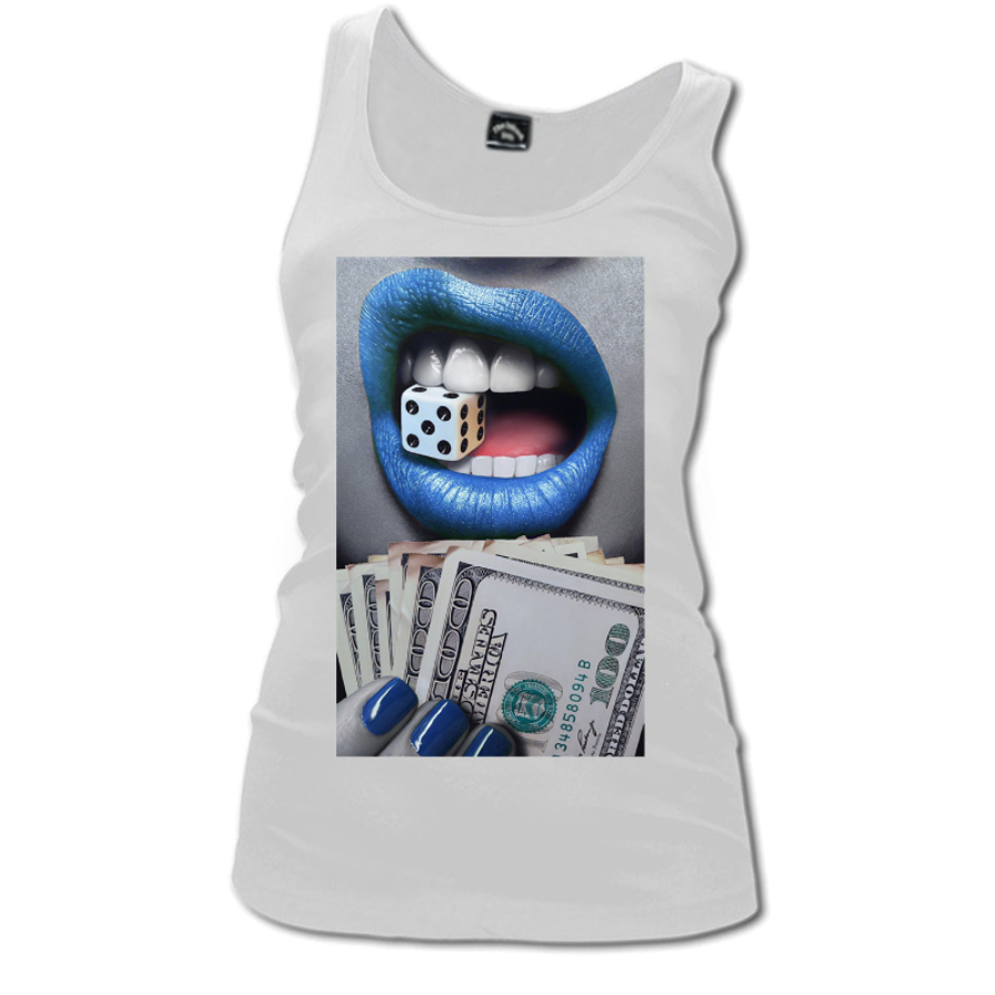 Women'S Blue Lips Biting A Dice - Tank Top