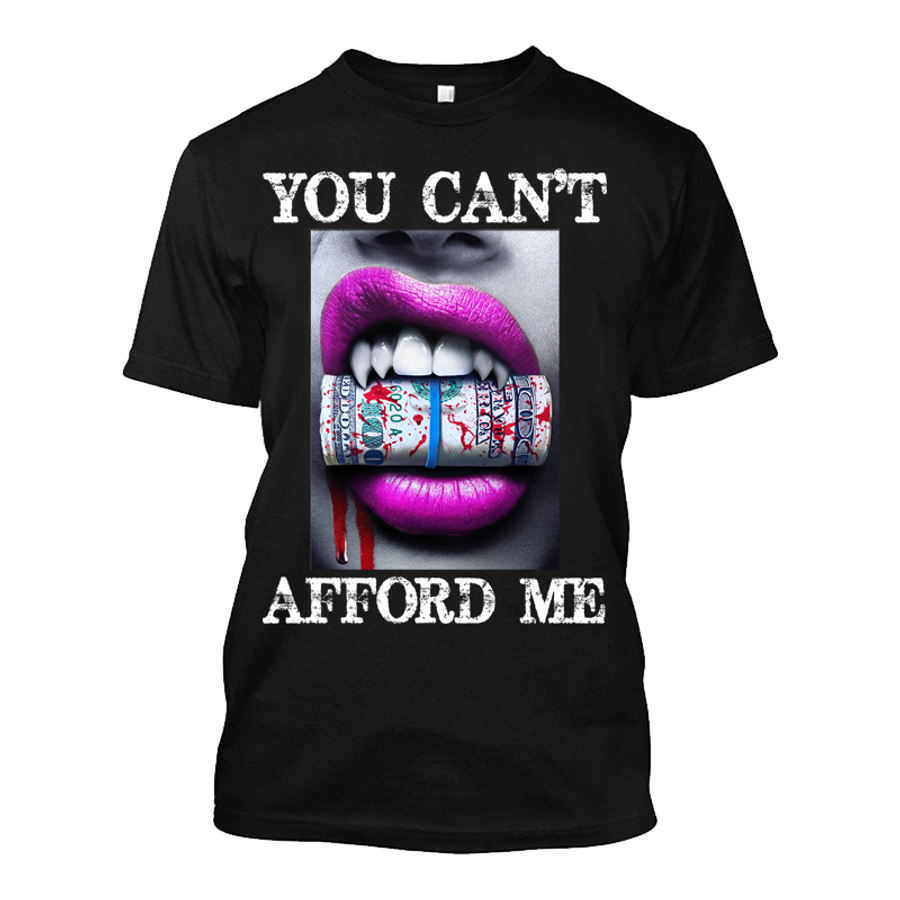 Men'S You Can't Afford Me Pink Lips Vampire Biting Money - Tshirt