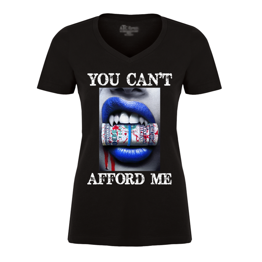 Women'S You Can't Afford Me Blue Lips Vampire Biting Money - Tshirt