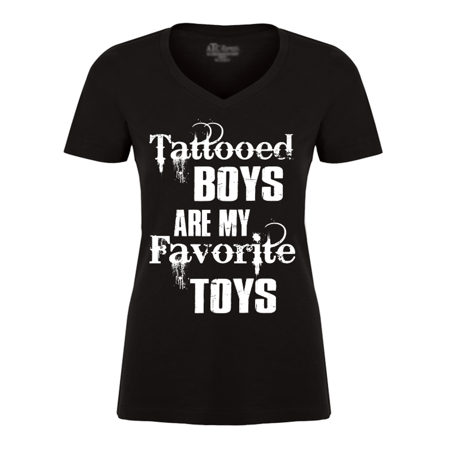 Women'S Tattooed Boys Are My Favorite Toys - Tshirt
