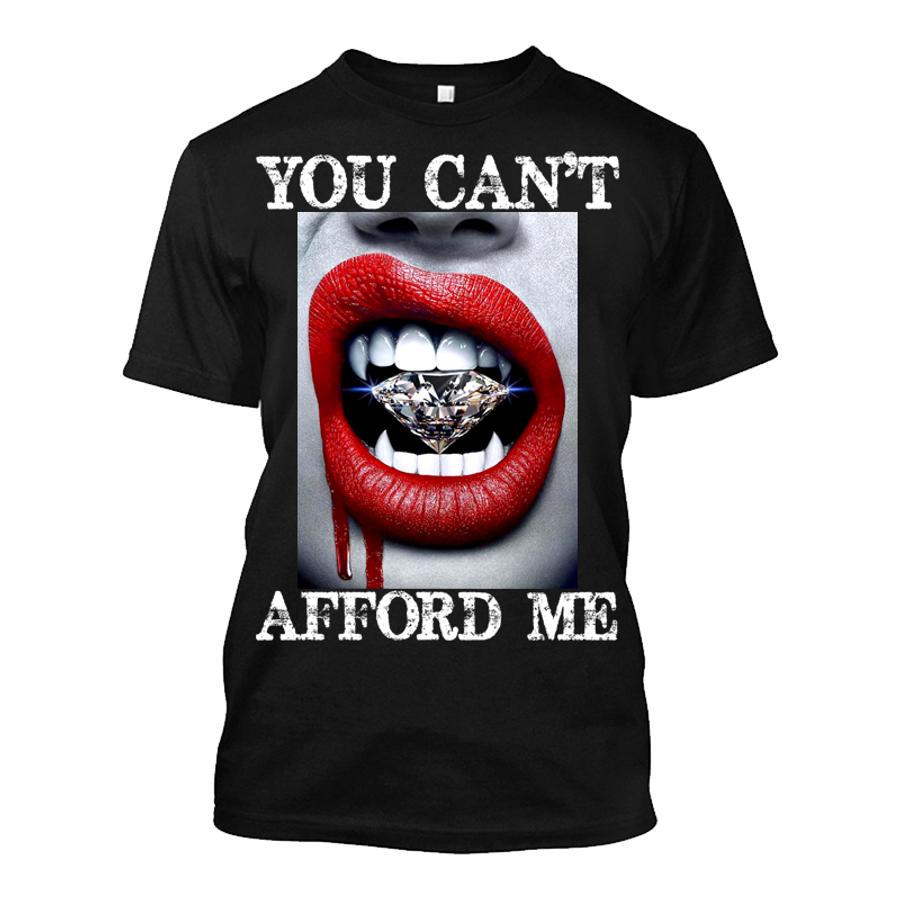 Men'S You Can't Afford Me Red Lips Vampire Biting Diamond - Tshirt