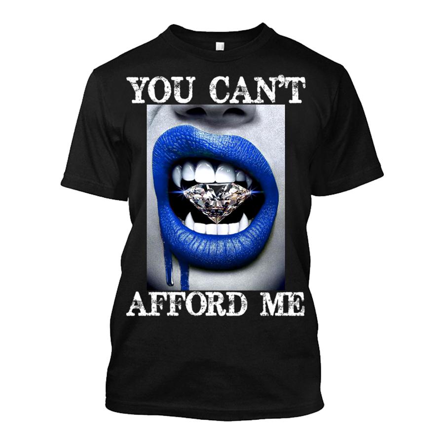 Men'S You Can't Afford Me Blue Lips Vampire Biting Diamond - Tshirt