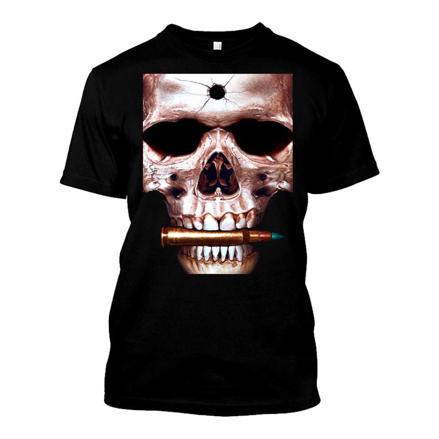 Men'S Skull Biting Bullet - Tshirt