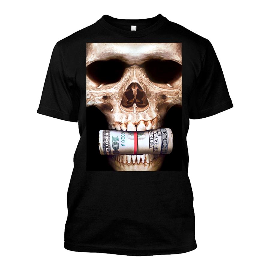 Men'S Skull Biting Money - Tshirt