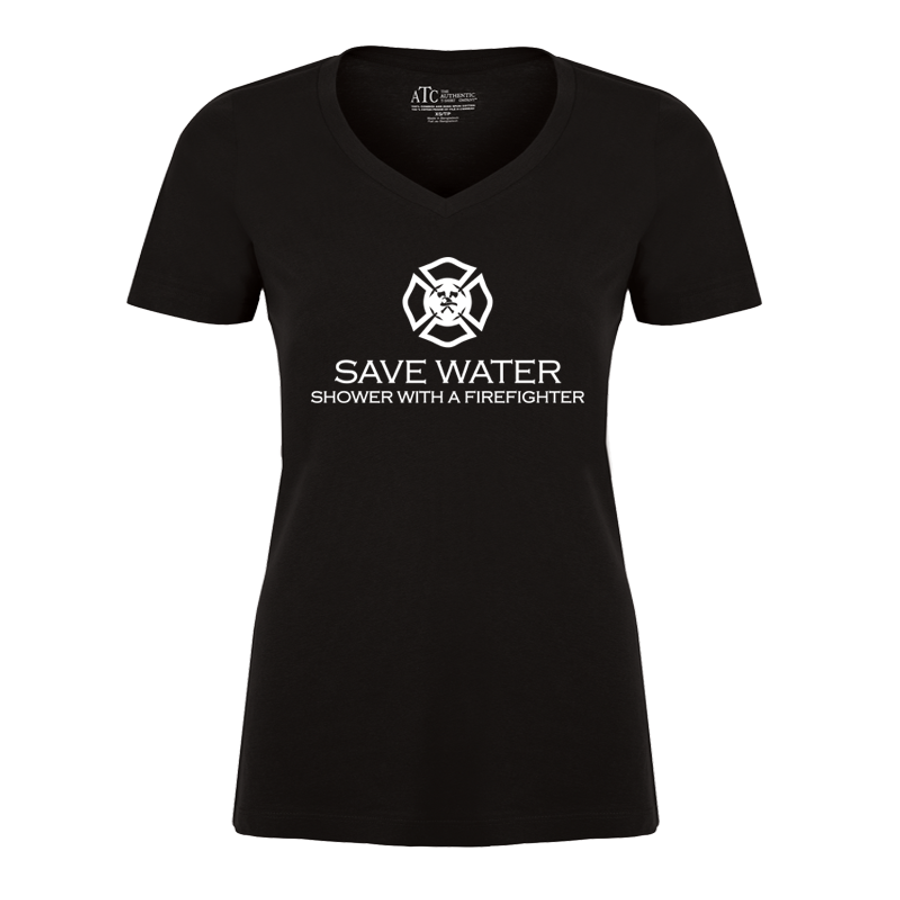 Women'S Save Water  Shower With A Firefighter - Tshirt