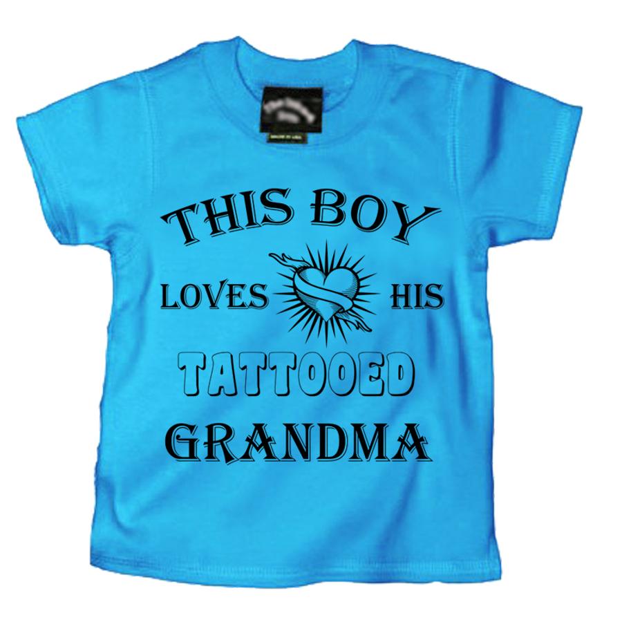 Kids This Boy Loves His Tattooed Grandma - Tshirt