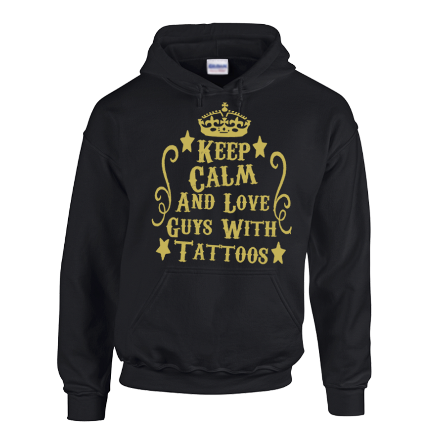 """Women'S Keep Calm And Love """"Boys, Guys Or Men"""" With Tattoos - Hoodie"""
