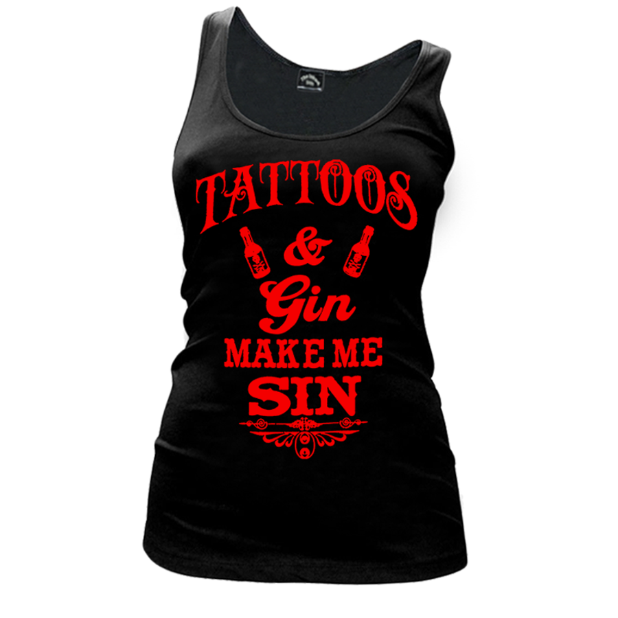 Women'S Tattoos And Gin Make Me Sin - Tank Top