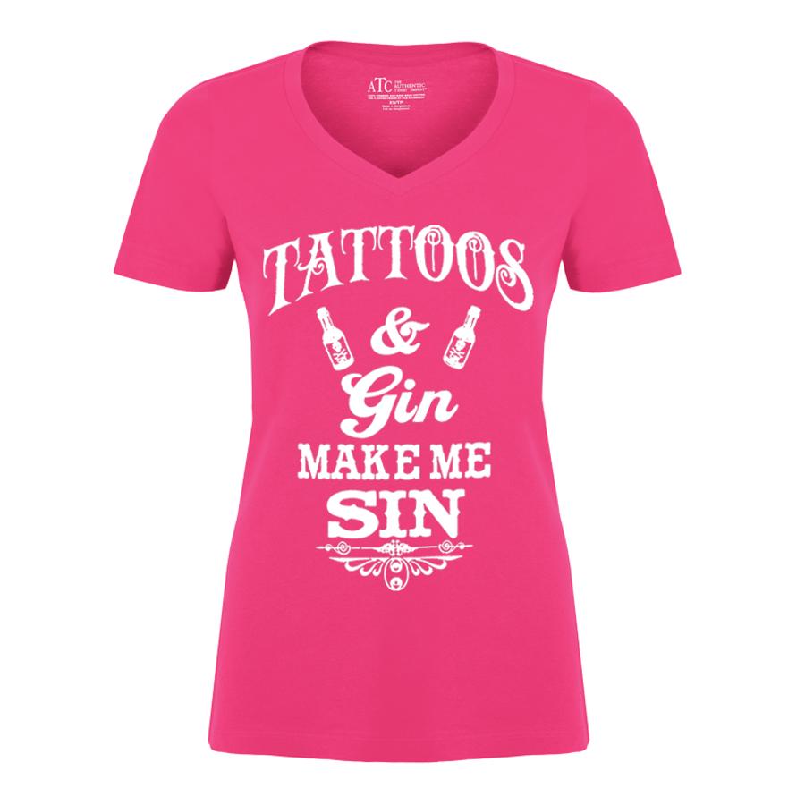 Women'S Tattoos And Gin Make Me Sin - Tshirt