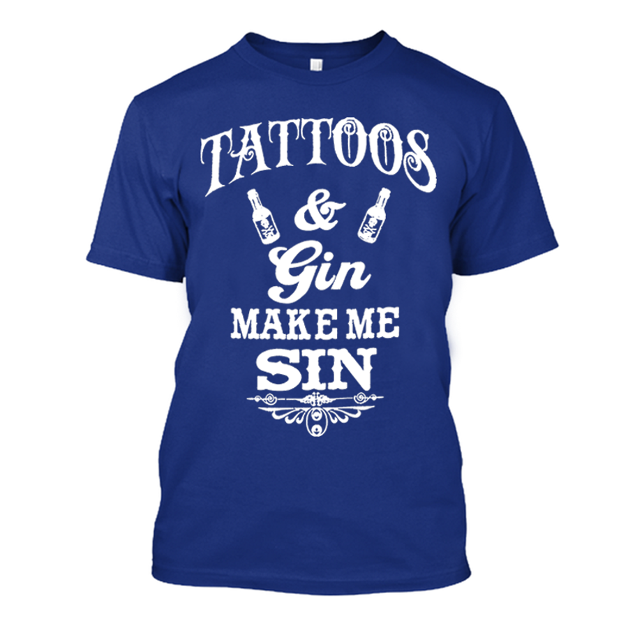 Men'S Tattoos And Gin Make Me Sin - Tshirt