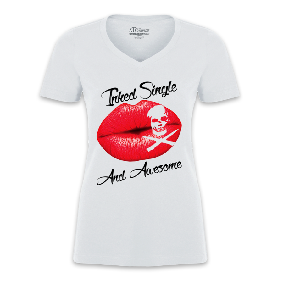 Women'S Inked Single And Awesome - Tshirt