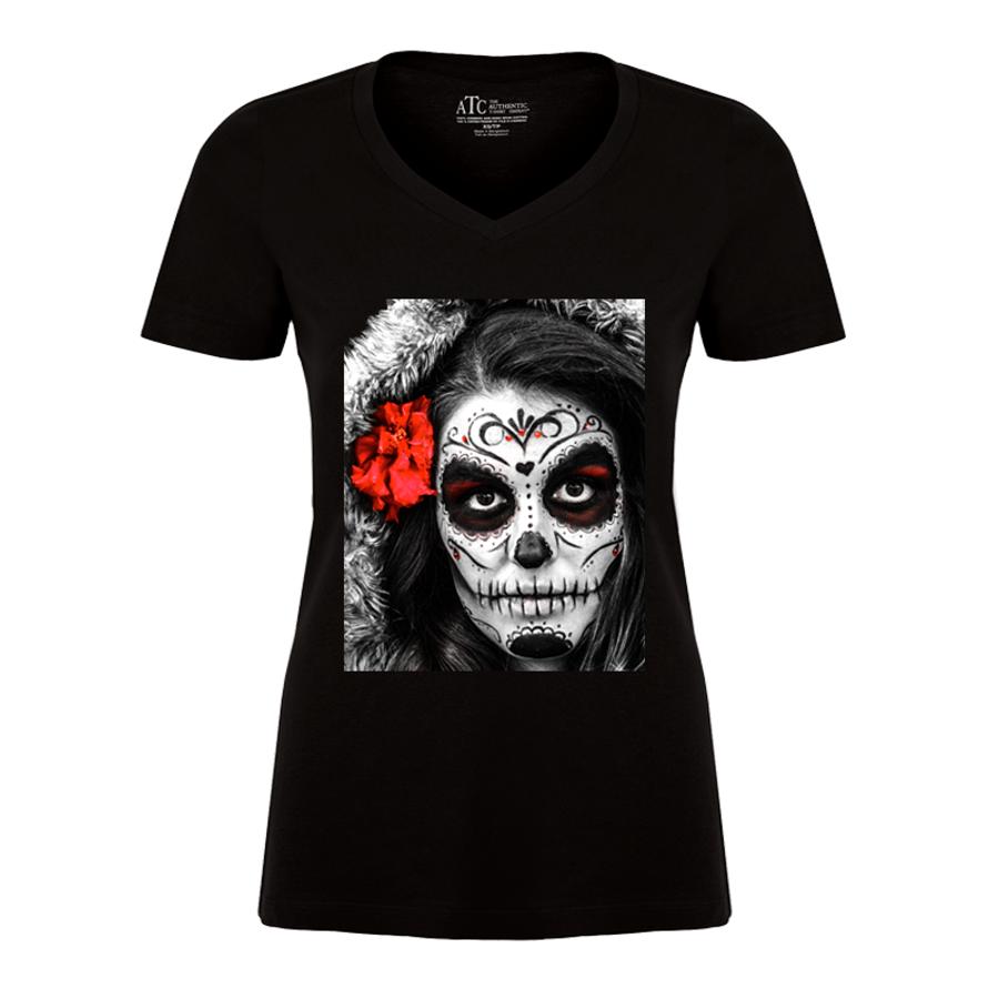 Women's Sugar Skull Face - Tshirt