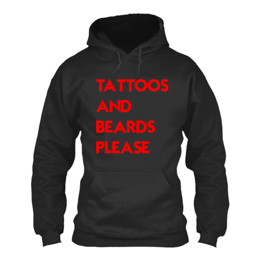 Women'S Tattoos And Beards Please - Hoodie