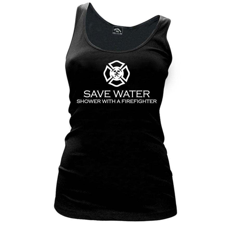 Women'S Save Water Shower With A Firefighter - Tank Top