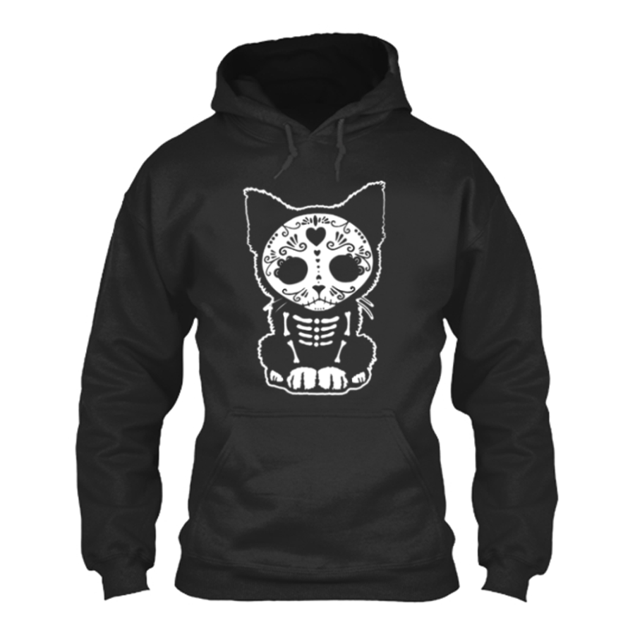 Women'S Day Of The Dead Sugar Skull Kitten Cat - Hoodie