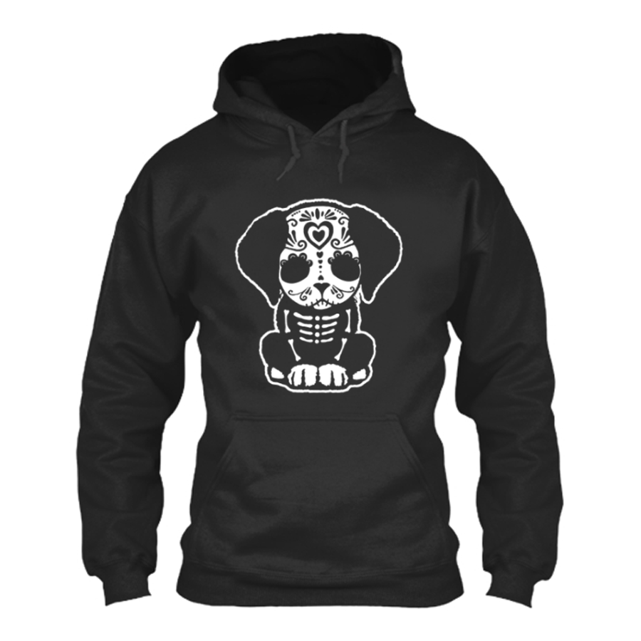 Women'S Day Of The Dead Sugar Skull Puppy Dog - Hoodie