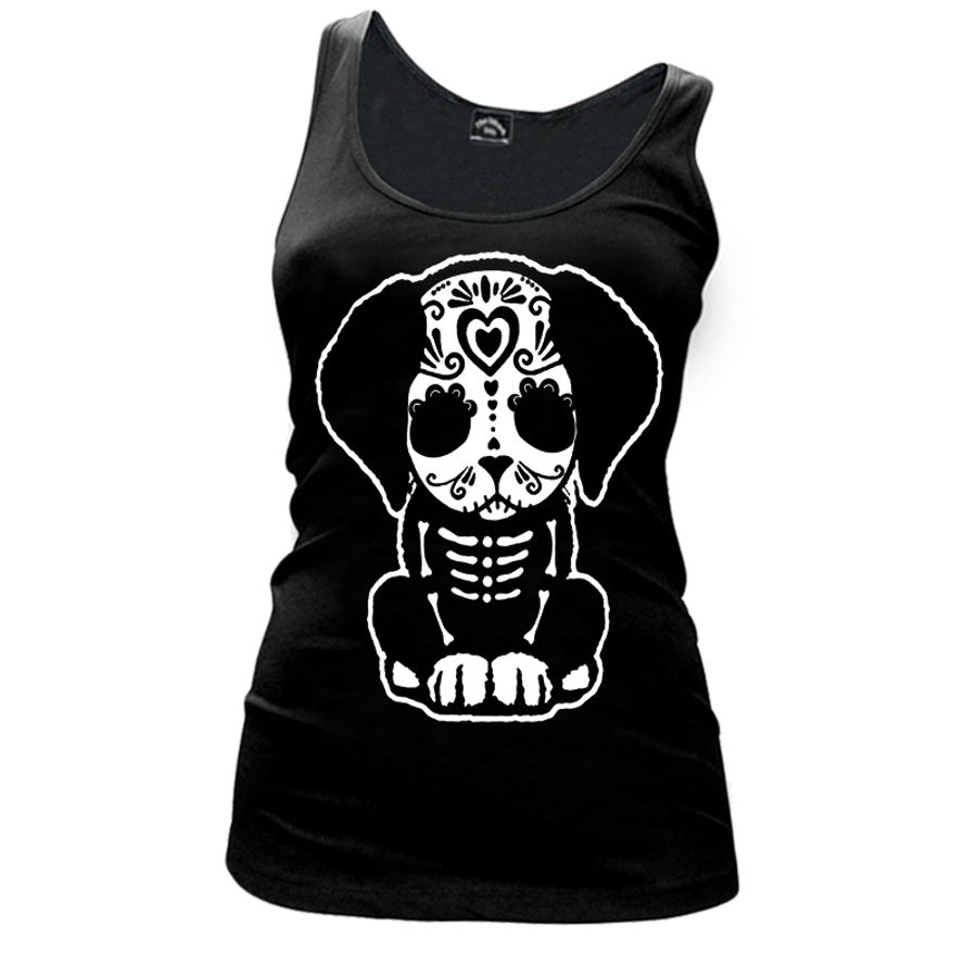 Women's Day Of The Dead Sugar Skull Puppy Dog - Tank Top