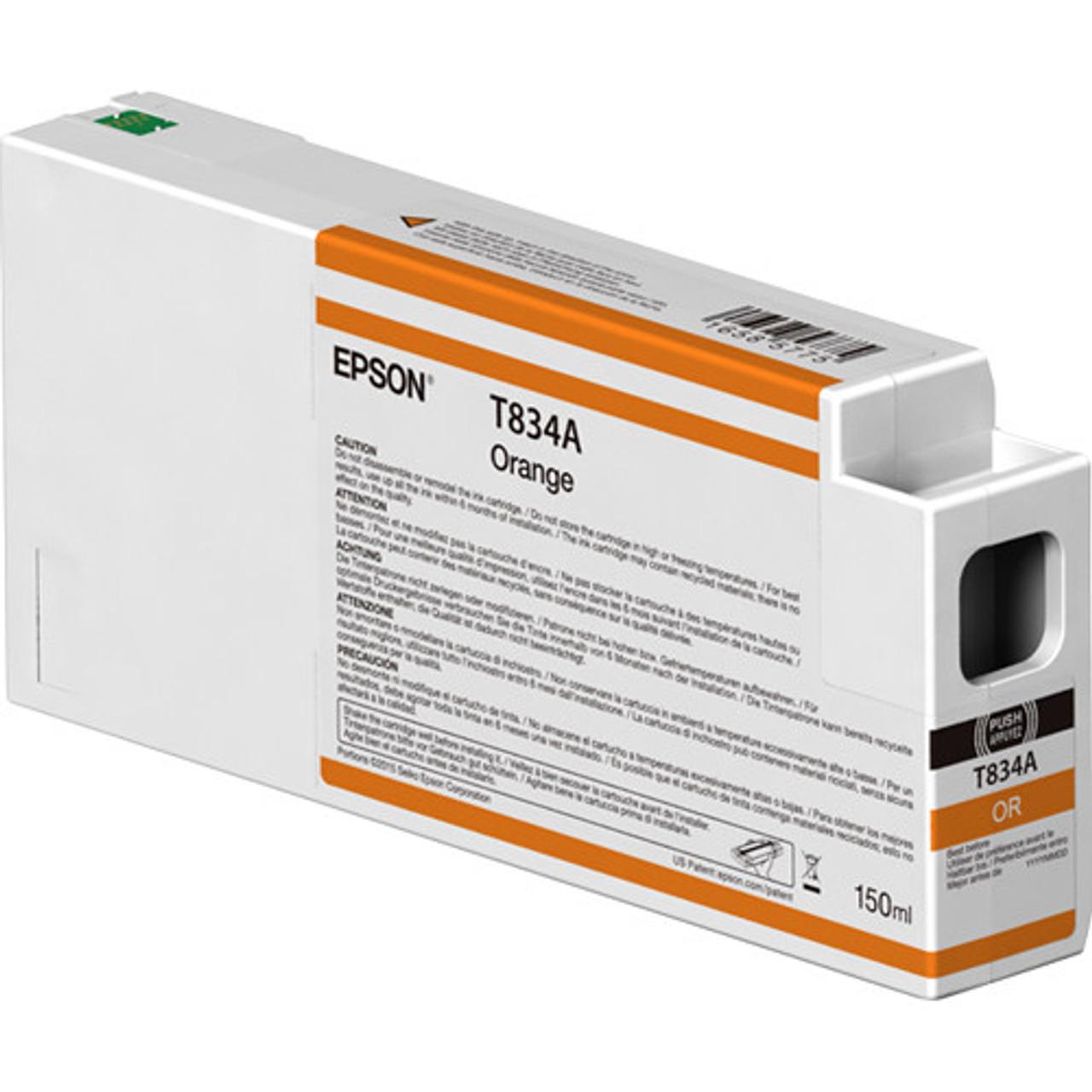 Epson T834A00 Orange Ink Cartridge, 150 mL