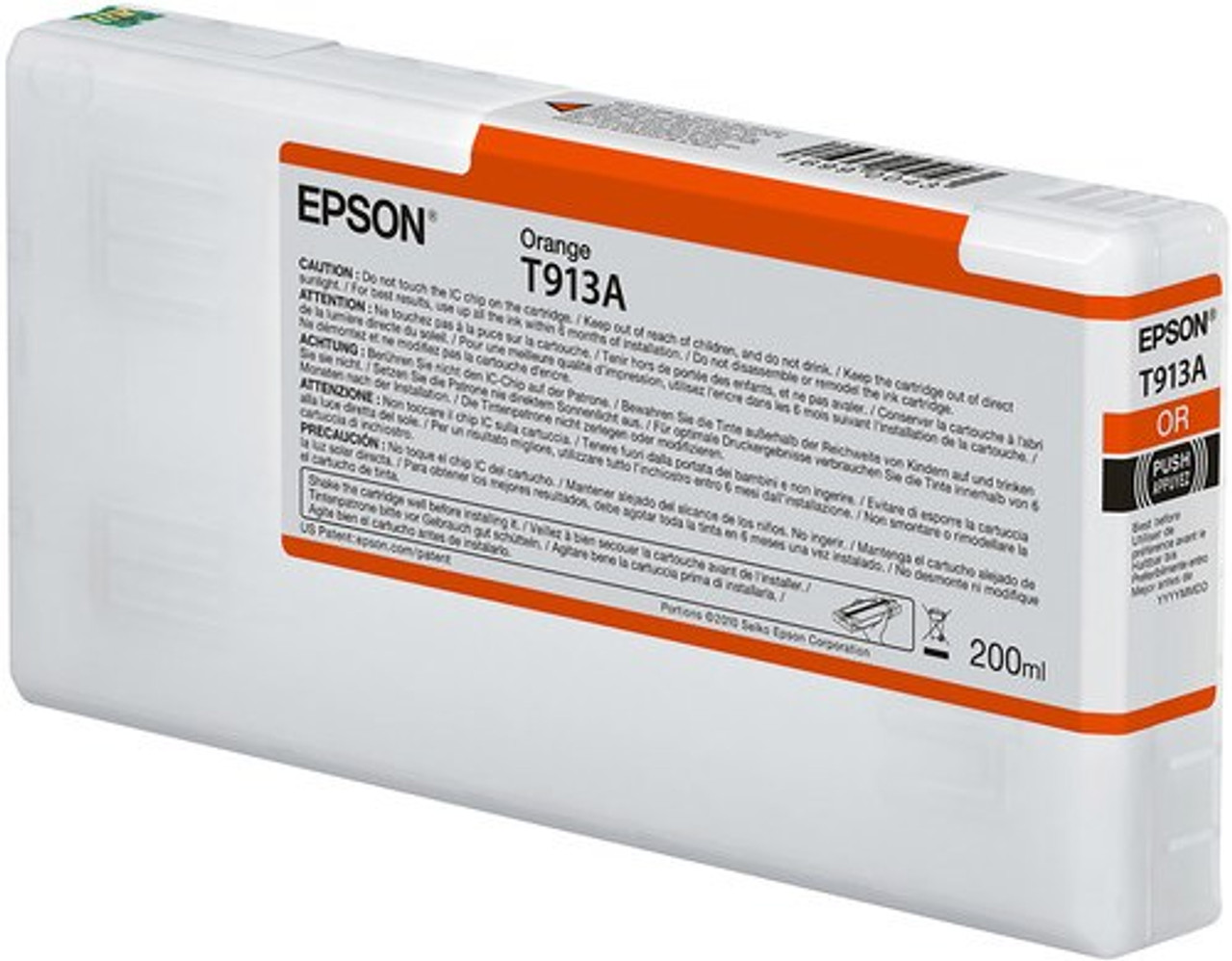 Epson Ultrachrome HDX Orange Ink Cartridge 200ml for SureColor P5000 Printers - T913A00