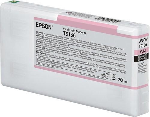 Epson Ultrachrome HD Vivid Light Magenta Ink Cartridge 200ml for SureColor P5000 Printers - T913600