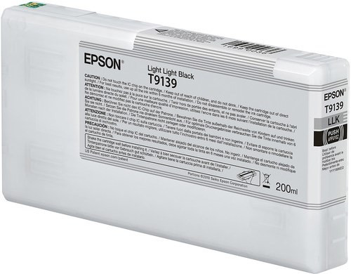 Epson Ultrachrome HD Light Light Black Ink Cartridge 200ml for SureColor P5000 Printers - T913900
