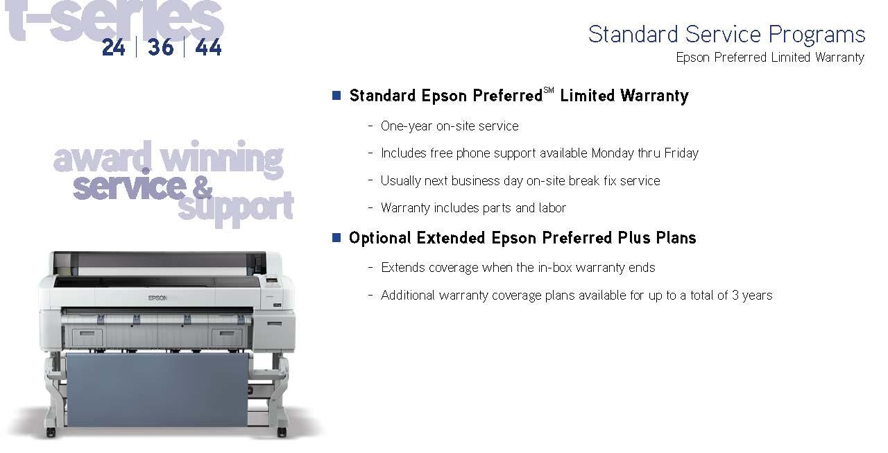 Epson preferred limited warranty
