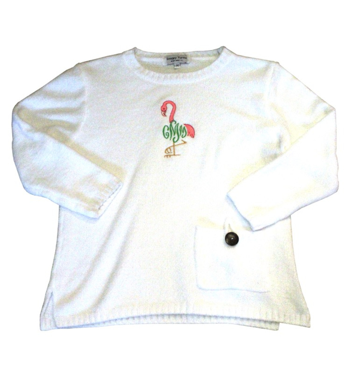 Chenille Pocket Pullover With Flamingo Monogram Snappy Turtle