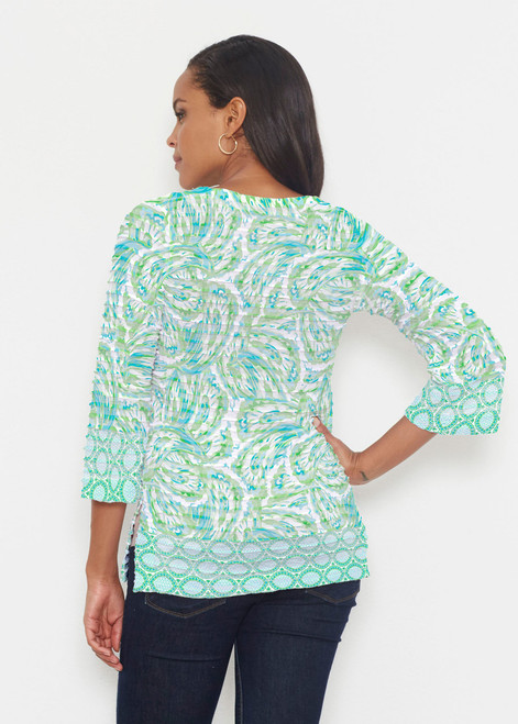 6e065299a2 ... Whimsy Rose | Banded 3/4 Bell Sleeve Tunic | Coastal Paisley Lace Green