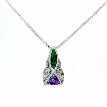 """""""Elegance"""" Tachyon Pendant with Amethyst, Opal and CZ Accents Set in Silver"""