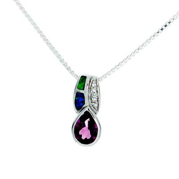 """""""Classic Tear"""" Tachyon Pendant with Amethyst, Opal and CZ Accents Set in Silver"""