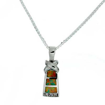 """""""Petite Tower"""" Tachyon Pendant with Opal Accents Set in Silver"""