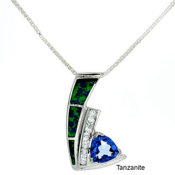 """""""Wave"""" Tachyon Pendant with Opal and CZ Accents Set in Silver"""
