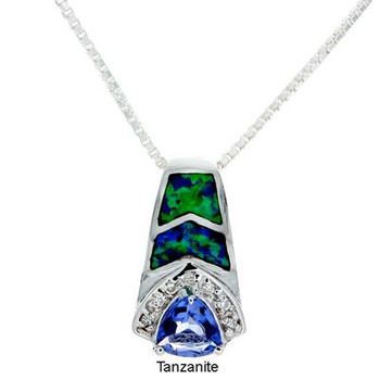 """""""Brilliance"""" Tachyon Pendant with Opal and CZ Accents Set in Silver"""