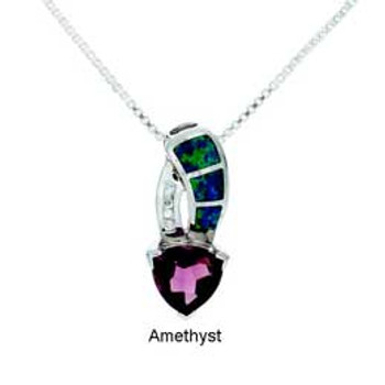 """""""Waterdrop"""" Tachyon Pendant with Opal and CZ Accents Set in Silver"""