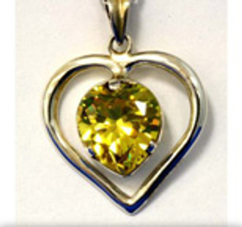 "Medium ""Heart in Heart"" CZ Pendant Yellow - Beautiful Energizer"
