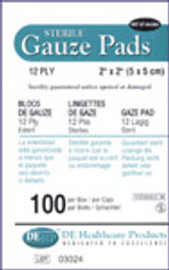 "Sterile gauze pads size 100 2"" x 2"" 12 ply"